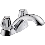 Delta 2500LF Classic Two Handle Centerset Lavatory Faucet - Less Pop-Up Chrome Finish