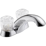 Delta 2502LF Classic Two Handle Centerset Lavatory Faucet - Less Pop-Up Chrome Finish
