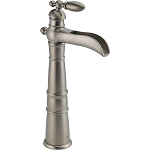 Delta 754LF-SS Victorian Single Handle Centerset Lavatory Faucet with Riser - Less Pop-Up Stainless Finish