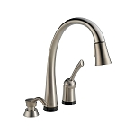 Delta 980T-SSSD-DST Pilar Single Handle Pull-Down Kitchen Faucet with Touch2O Technology and Soap Dispenser Stainless Finish