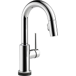 Delta 9959T-DST Trinsic Single Handle Pull-Down Bar-Prep Faucet Featuring Touch2O(R) Technology Chrome Finish