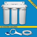 H2O International H2O-UCF-03-14 Triple Stage Under Sink System with 1/4 inch Tubing Ball Valve Cartridges and Faucet Sold Separately