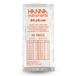 Hanna HI70033P 84 µS/CM 20 ML 25 Pack Conductivity Calibration Solution
