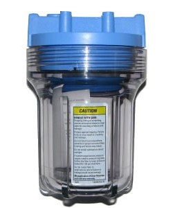 "Pentek 158217 5"" Slim Line Clear/Blue Filter Housing with 1/2"" Caps without PR"