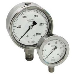 Noshok 25-510-1000 2.5 inch All SS 1/4 inch CB 0-1000 PSI/KPA Liquid Filled Gauges