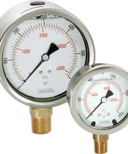 "Noshok 2-1/2"" Dial SS Center Back Connection Gauge 0-100 PSI"