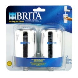 Replacement Filter for Brita On-Tap Basic Faucet System - 2 Pack Chrome