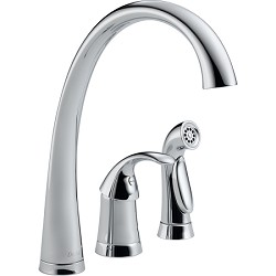 Delta 4380-DST Pilar Single Handle Kitchen Faucet with Spray Chrome Finish