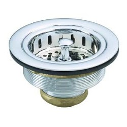 Westbrass 4-3-8 in. Post Sink Strainer in Polished Chrome Finish