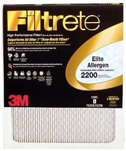 16x25x1 Filtrete Elite Allergen Air Filter (15.6x24.6x.875 - Actual Size)