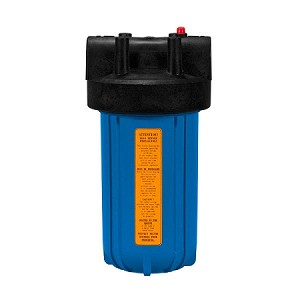 Kemflo FW5000BL15PR Heavy Duty Blue Filter Housing for Full Flow/BB 10 inch × 4 1/2 inch Cartridge with 1 1/2 inch Port and Pressure Release