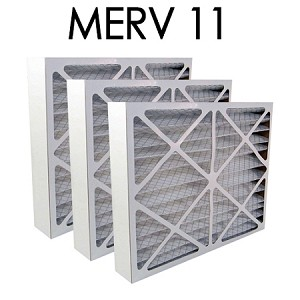 25x29x4 MERV 11 Pleated Air Filter 3PK (24.375x28.375x3.625 - Actual Size)