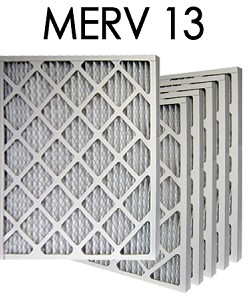 14x25x1 MERV 13 Pleated Air Filter 6PK (13.5x24.5x.75 - Actual Size)