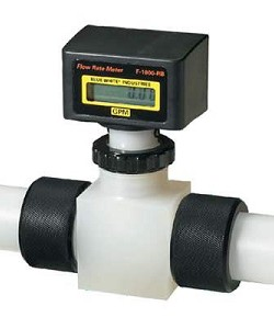 Blue-White RB-100PI-GPM2 2-20 GPM Rate Meter 1 FPT F-1000 Digital Inline Flowmeter