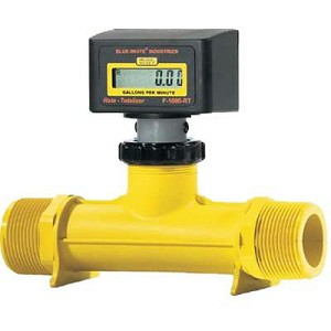 Blue-White RB-500MI-6GPM1 2-20 GPM Rate Meter 1/2 FPT F-1000 Digital Inline Flowmeter