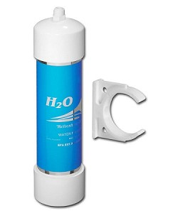 H2O International RC-38 Inline GAC/KDF Icemaker Filter with Quick Connect 3/8 inch Fitting and clip
