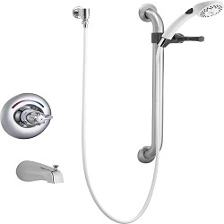Delta T13H253 Classic Universal Tub Trim Handshower and Grab Bar Chrome Finish