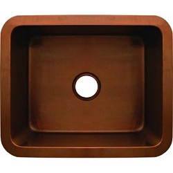 Copperhaus 21-Inch Rectangular Undermount Copper Sink In Smooth Bronze By Whitehaus