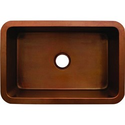 Copperhaus 30-Inch Rectangular Undermount Smooth Textured Copper Sink In Smooth Bronze By Whitehaus