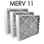 20x20x4 MERV 11 Pleated Air Filter 3PK - 19.5x19.5x3.625 - Actual Size