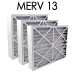20x20x4 MERV 13 Pleated Air Filter 3PK - 19.5x19.5x3.625 - Actual Size