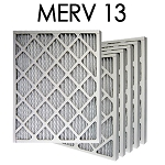 14x25x1 MERV 13 Pleated Air Filter 6PK - 13.5x24.5x.75 - Actual Size