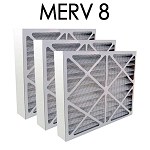 20x20x4 MERV 8 Pleated Air Filter 3PK - 19.5x19.5x3.625 - Actual Size