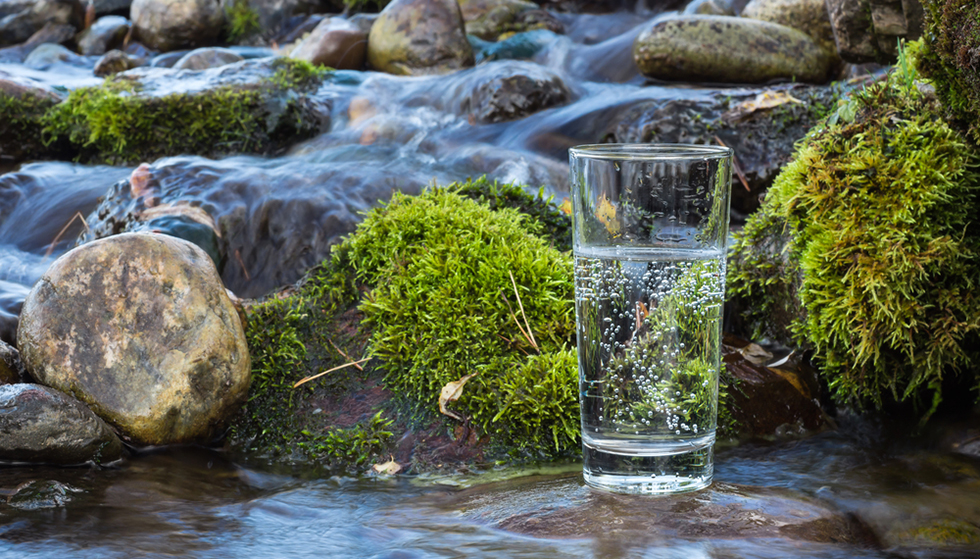 mineral water glass outdoors