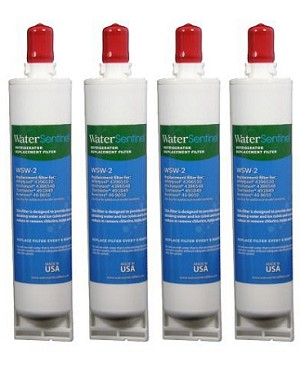 Water Sentinel WSW-2 Refrigerator Filter - Whirlpool EDR5RXD1/ 4396510/4396508 - 4 Pack